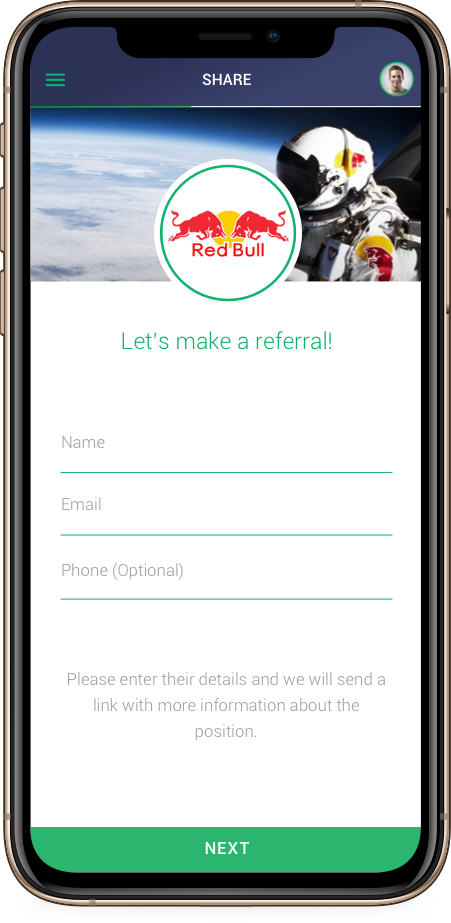 red bull referral app screen