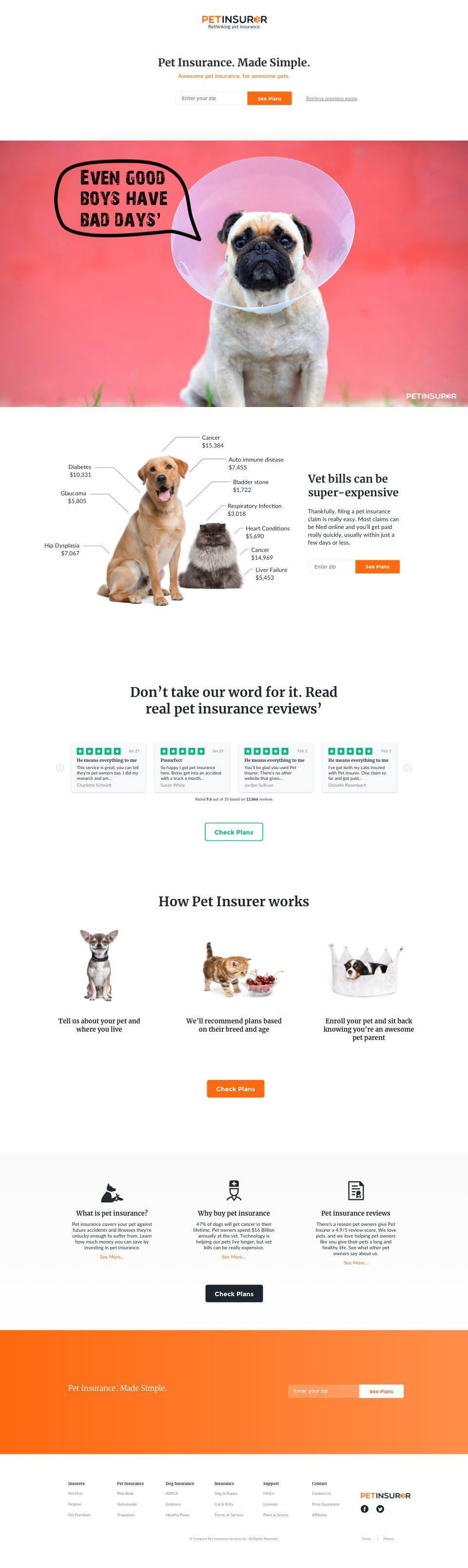pet insurer homepage website